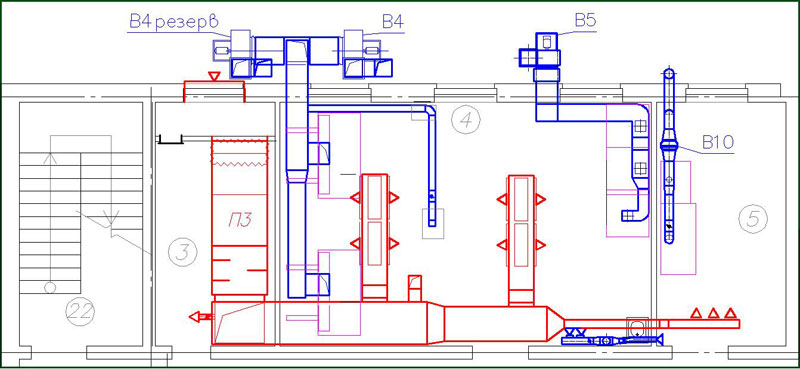 схема монтажа вентиляции в доме
